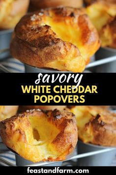 White cheddar popovers are just mix and bake. Use a popover pan and you'll impress your guests with these pillows of cheesy goodness. Real Food Recipes, Cooking Recipes, Yummy Food, Bread Recipes, Easy Homemade Recipes, Bread And Pastries, Appetizer Recipes, Appetizers, White Cheddar