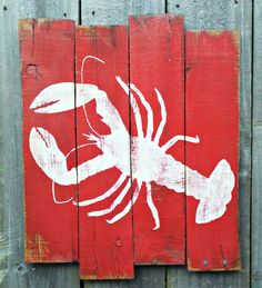 Hand Painted Distressed Reclaimed Wooden Red Lobster Sign