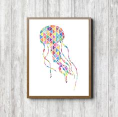 Geometric Jellyfish Wall Art - Watercolor Jelly Fish Poster - Boys /Girls Room - Colorful Nursery Art - Sea Animal Wall Decor - Beach Themed by PrimroadDesigns on Etsy https://www.etsy.com/listing/475766311/geometric-jellyfish-wall-art-watercolor