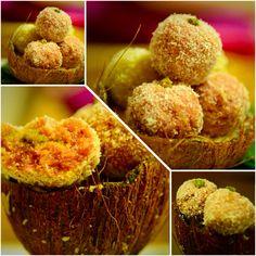 Dessert: coconut  pistachio n beetroot Laddu