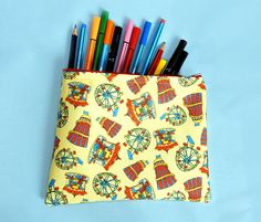 Your place to buy and sell all things handmade Large Pencil Case, Pencil Cases, Pattern Design, Print Design, Bright Color Schemes, Waterproof Makeup, New Print, Candy Colors, Large Bags