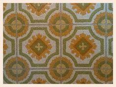 Groovy 70's kitchen linoleum flooring.  #retro  #vintage #70s #1970s #retrokitchen #floorcovering #weird #hip #kitschy #kitsch #oldfloor #tileaddiction by hippie.eric