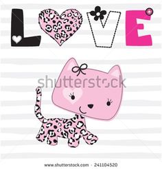 cute cat love card t-shirt graphics striped background vector illustration - stock vector