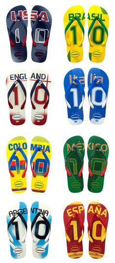 THE WORLD CUP Havianas has a flip-flop to celebrate each country's team participating in the 2014 Soccer World Cup in Rio, Brazil. ($26) | Go USA! Italia! England!