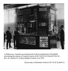 1912 newspaper kiosk in Melbourne, Australia (Photo source: University of Manitoba Archives via Miscellanea Manitobiana)
