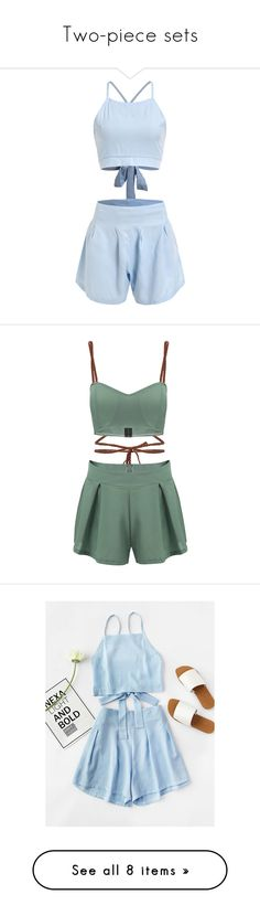 """Two-piece sets"" by sjpj ❤ liked on Polyvore featuring blue, blue camisole, blue cami, dresses, romper, outfits, tops, yoins, green and pleated skort"