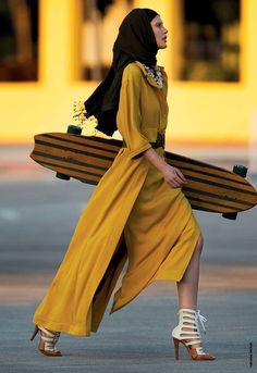 Yellow with a skateboard in heels