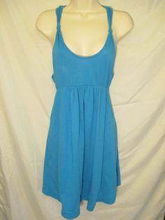 0870815 Hurley Blue Sundress Empire Waist Sleeveless Racer T Back XS Cotton #Hurley #EmpireWaist #SummerBeach