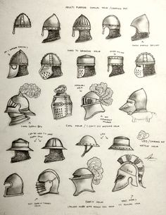 Various design and types of helmet for the Historically Wrong Sketch Series - Project WAARGH, a spin of Medieval Revisited series where instead of Women Warriors, it's MEN warriors! Some of them ar...