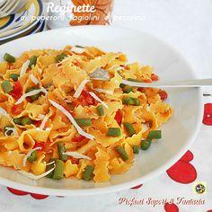 Reginette+ai+peperoni+fagiolini+e+pecorino