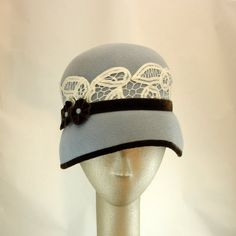 Cloche Hat for Women 1920s Fashion Hat Fur by TheMillineryShop. Love the lace!