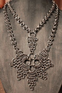 Silver Colored Aluminum Chainmail Necklace and Pendant