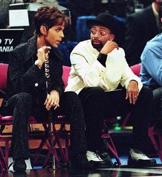 Prince and Spike Lee at a basketball game.