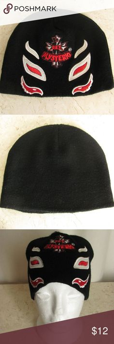 351d6183bbb Rey Mysterio Beanie Hat Black Knit Wrestler WWF Rey Mysterio Beanie Hat  Black Acrylic Knit Embroidered