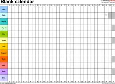Template 2: Excel template for blank calendar (landscape orientation, 1 page)