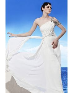 Chiffon One Shoulder Side Draping White Evening Dress