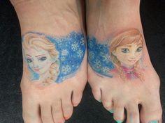 Frozen tattoo.  Anna and elsa.  Foot tattoo.  Tattoo by Juno Kerr. Eternal Ink. Waterloo, Iowa.