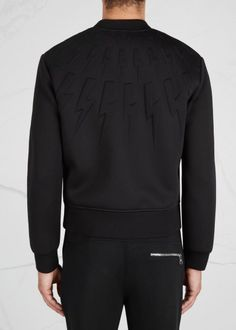 Neil Barrett black neoprene bomber jacket Embrossed lightning bolts, front slip…