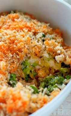 Rotisserie Chicken Broccoli Rice Casserole has ingredients that can be prepped ahead of time and put together easily before baking.