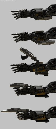 Concept of a robot or mechanized limb that has gadgets equipped and built into it in this case a gun.