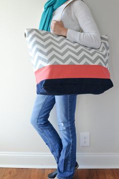 EXTRA Large Beach Bag // Tote in Green and Cream Stripes ...