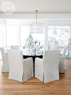 Cozy and Classic Look ... White Dining Room (Comfy Chairs) FROM: a life's design: Modern Family...
