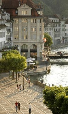 A Lucerne Street Scene In The City, Lucerne, Switzerland (by Annie Griffiths)