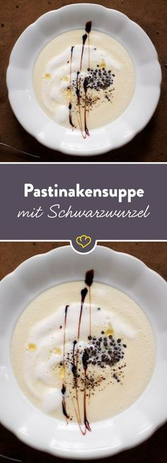 Salsify parsnip soup all in white- Schwarzwurzel-Pastinaken-Suppe ganz in Weiß Have you ever tasted salsify? Especially tasty as a soup due to its high starch content – a poem with parsnip. Vegetable Soup Healthy, Vegetable Drinks, Healthy Vegetables, Healthy Juice Recipes, Juicer Recipes, Soup Recipes, Lentil Recipes, Parsnip Soup, Clean Eating Soup