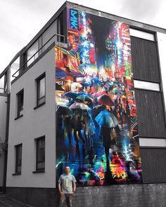 Bristol, Inghilterra: nuovo muro dell'artista inglese Dan Kitchener aka DANK per il Bristol Upfest.