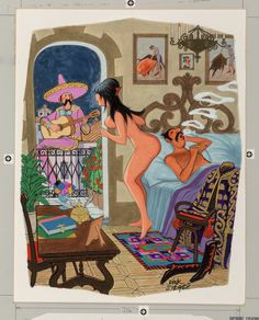 DINK SIEGEL - But Don Carlos! You know it's improper for a lady to come out on the balcony without her Duena - item by fineart.ha Don Carlos, Balcony, Cartoons, Painting, Lady, Cartoon, Cartoon Movies, Painting Art, Balconies