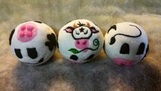 3 Wool Dryer Balls, Milk Cows, Black & White, Set of 3, Eco Friendly, Natural, Farm Animals