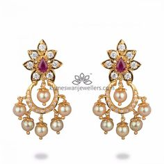 Mesmerizing collection of gold earrings from Kameswari Jewellers. Shop for designer gold earrings, traditional diamond earrings and bridal earrings collections online. Jewelry Design Earrings, Buy Earrings, Gold Earrings Designs, Pendant Jewelry, Earrings Online, Necklace Designs, Gold Pendant, Sterling Silver Jewelry, Gold Jewelry