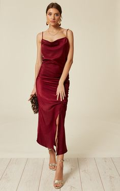 Looking for Bodycon Dresses? Call off the search with our Red Satin Cowl Maxi Slip Dress With Draw String Detail. Shop unique fashion at SilkFred Slip Dress Outfit, Red Slip Dress, Silk Dress, Dress Outfits, Fashion Dresses, Red Silk Prom Dress, Date Dress Up, Slip Bridesmaids Dresses, Satin Dresses