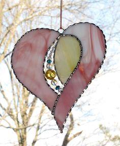Stained Glass Suncatcher - Open Heart, Valentine Heart, Valentine's Day Gift, Crystal Bead Heart