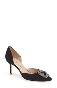"""Free shipping and returns on Manolo Blahnik 'Hangisi' Ornamented d'Orsay Pump (Women) at Nordstrom.com. <p><B STYLE=""""COLOR:#990000"""">Pre-order this style today! Add to Shopping Bag to view approximate ship date. You'll be charged only when your item ships.</b></p><br>A crystal-encrusted ornament  adds eye-catching romance to a lithe Italian d'Orsay pump in a classic pointy-toe profile."""