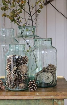 ~~ Staggered glass jars filled with pine cones and dried flowers make a great vignette for a closet shelf or island. ~~ : ~~ Staggered glass jars filled with pine cones and dried flowers make a great vignette for a closet shelf or island. Vibeke Design, Deco Nature, Nature Decor, Ideias Diy, Deco Floral, Farmhouse Chic, French Country Farmhouse, French Country Decorating, Country Chic