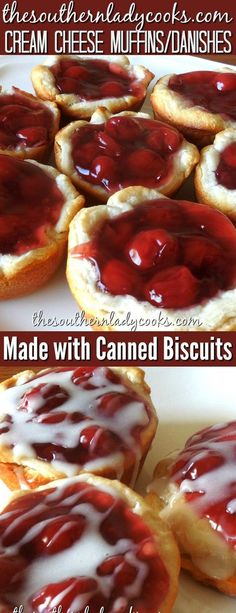 Easy way to make cream cheese danishes and muffins with canned biscuits. Wonderful for breakfast with coffee or as a snack with milk. Super easy to make and delicious. #creamcheese #danish #muffins #howto #DIY #makeit #makeyourown #cannedbiscuits #breakfast #treats #coffee #snacks #appetizers #easyrecipes #recipes