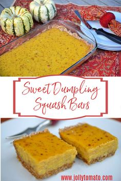 These tasty Sweet Dumpling Squash bars taste similar to pumpkin bars. They make a great kid-friendly after-school snack or dessert. Sweet Dumpling Squash, Sweet Dumplings, Hidden Vegetables, Low Carb Deserts, Pumpkin Bars, Winter Food, Dessert Bars, Delicious Desserts, Sweet Tooth