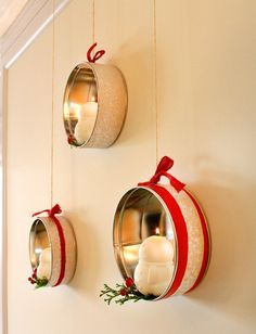 Repurpose cookie tins: 10 Adorable Ways To Decorate A Small Space For The Holidays Upcycled Crafts, Repurposed, Tin Can Crafts, Small Tins, Tin Boxes, Metal Tins, Xmas Decorations, Diy Decoration, Christmas Crafts