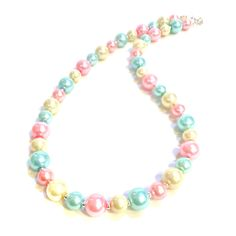 Pastel-coloured glass pearl necklace