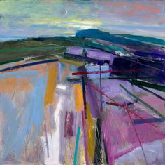 Peter Iden Artist: Downland Evening with New Moon Oil on Board Estate of Peter Iden Landscape Artwork, Abstract Landscape Painting, Seascape Paintings, Watercolor Landscape, Abstract Watercolor, Abstract Art, Acrylic Paintings, Acrylic Art, Oil Paintings