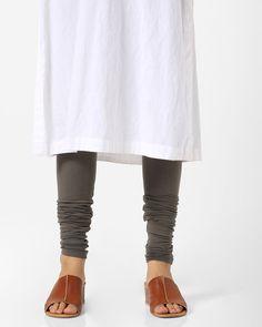 4ced0ec23fc657 Buy AJIO Women Charcoal Grey Mid-Rise Churidar Leggings | AJIO