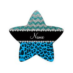 Name sky blue leopard turquoise glitter chevrons star stickers
