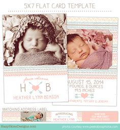 Birth Announcement Template for Photographers     #birth announcement #template #photoshop #newborn #newborn photography #family photography #photographer #photography #marketing #tribal