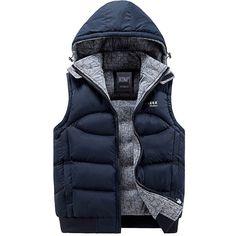 4b73e058ca HOT Warm Hooded Waistcoat Men Winter Vest Sleeveless Cotton Down Zip Jacket  Coat