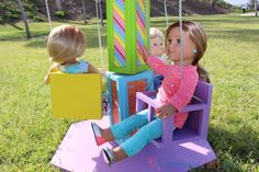 American Girl DIY Carnival Swing Ride The Effective Pictures We Offer You About Diy carnival party A American Girl House, My American Girl Doll, American Girl Crafts, Ag Doll Crafts, Diy Doll, Starbucks Frappuccino, Tips And Tricks, American Girl Furniture, Diy Carnival
