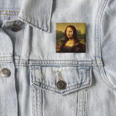 Billion Dollar Mona Lisa Smile Button - accessories accessory gift idea stylish unique custom