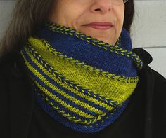 Bridgeport Cowl from Nina Machlin Dayton... love the two-color braids combined with bright stripes. #giftalong2014