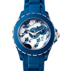 Aesthetic Movement Floral Watch. Blue and white Japanese floral silicone strap watch.