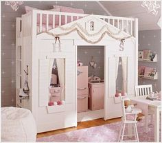 Cottage Loft Bed | Pottery Barn Kids Create| Pottery Barn Kids Create with material sides below that can be easily removed/replaced so it's more of a grow-with-me loft as kiddo gets older. Description from pinterest.com. I searched for this on bing.com/images